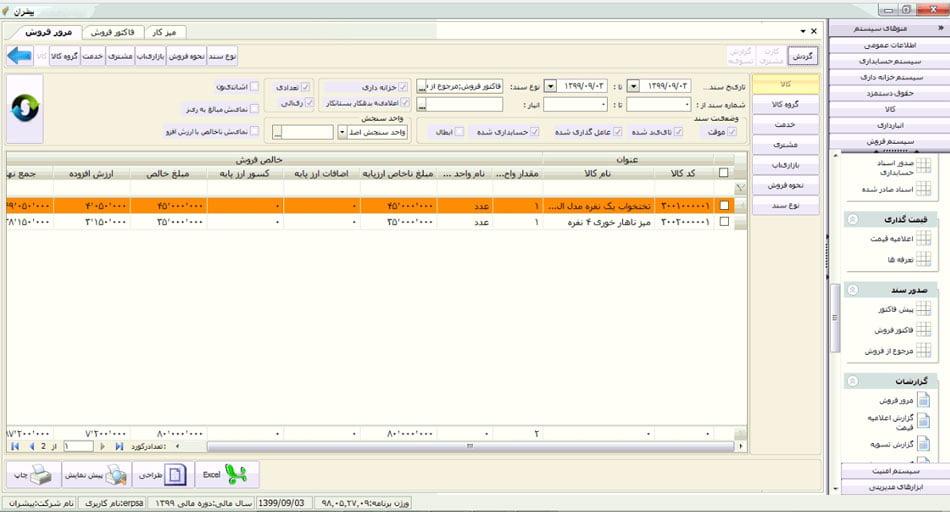 سیستم فروش پیشران - گزارش مرور فروش
